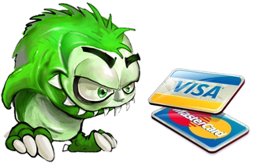 monster and credit cards
