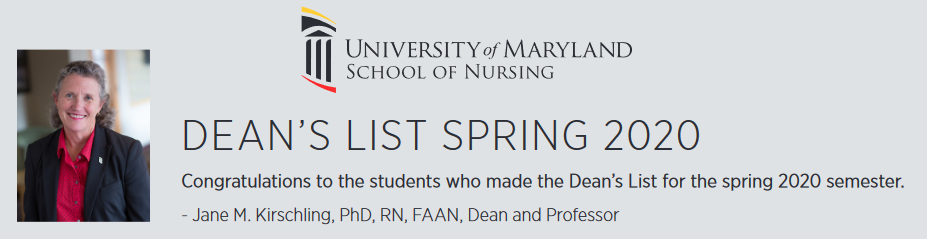 Dean's List Spring 2020 with dean's photo