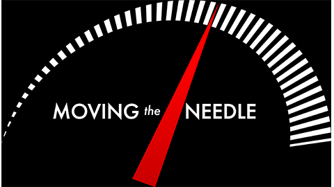 Moving the Needle logo displaying a dial with measurement marks