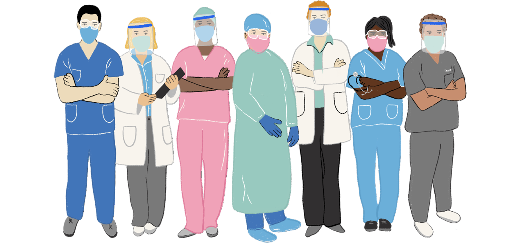 illustration of nurses in PPE