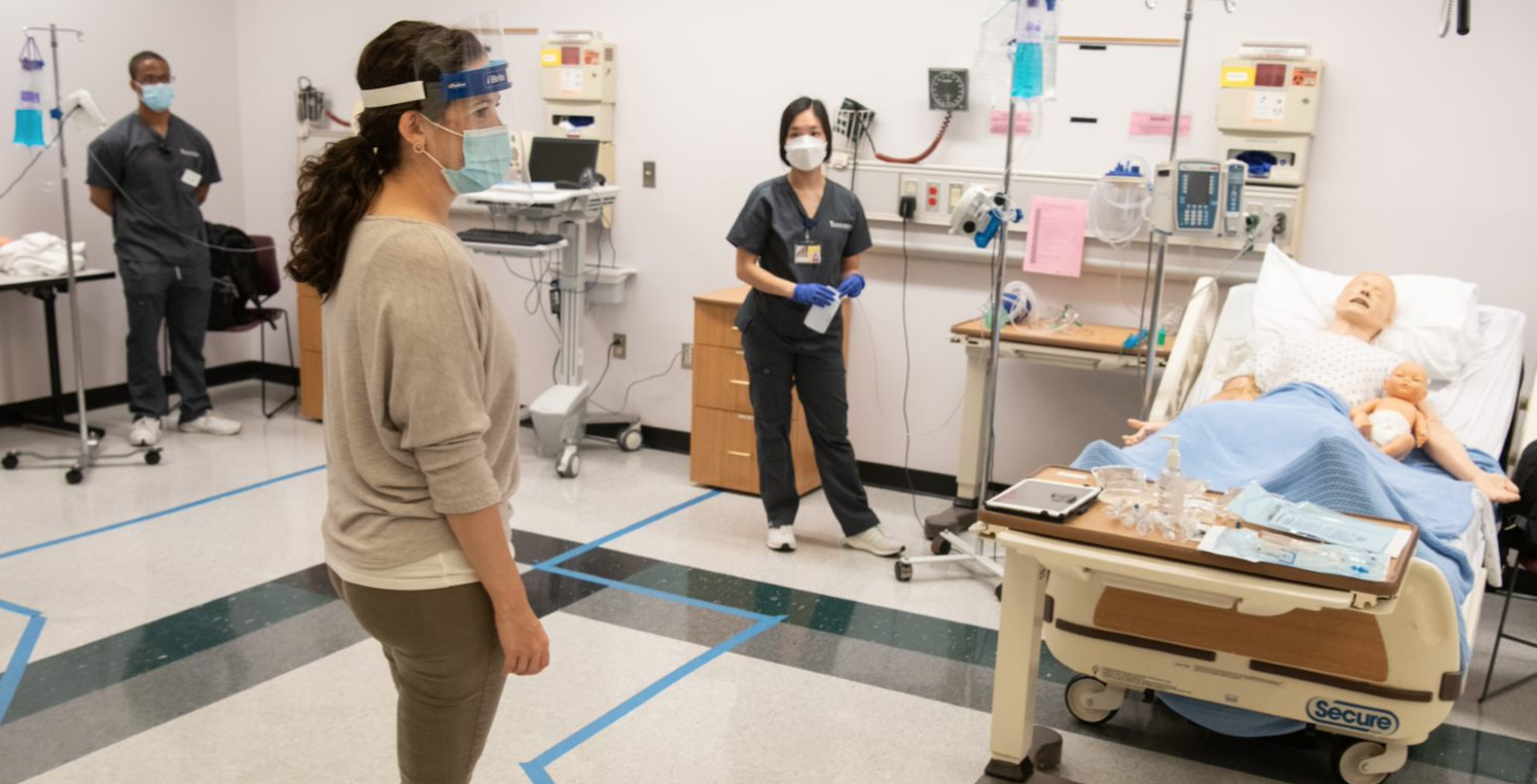 With safety protocols in place, UMSON students return to the School's simulation labs.