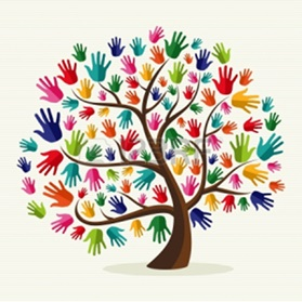 Tree with colorful hands