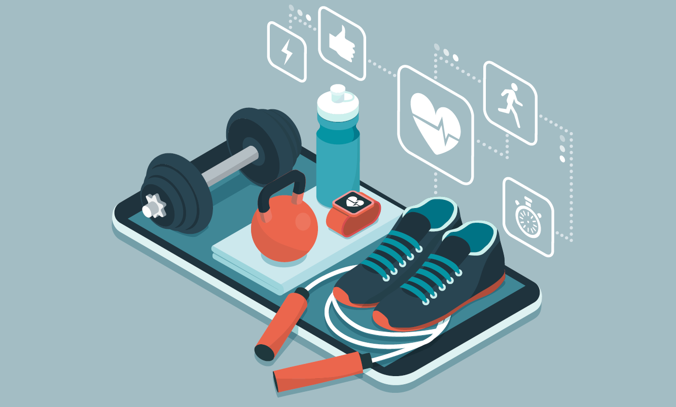 A cell phone with a jump rope, shoes, fitness tracker, water bottle, kettle bell and weight on it with fitness tracking icons above
