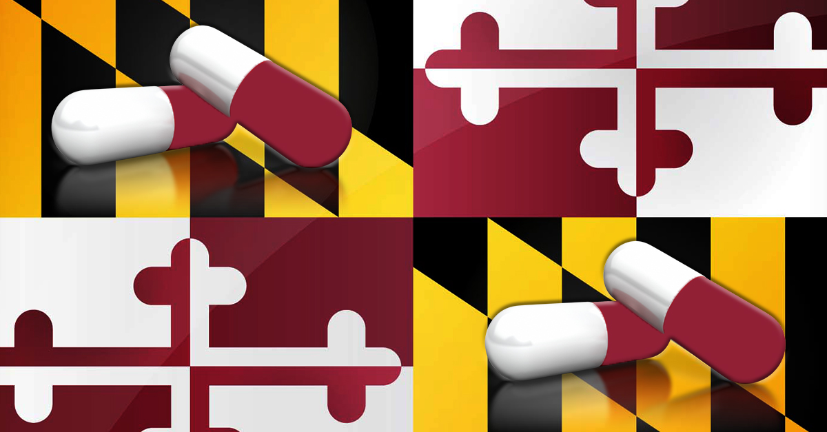 Maryland state flag with capsules overlaid on the yellow and black checkered square sections.