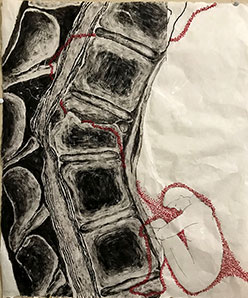 artwork depicting a spine with an inked red figure with red embroidery, done on mulberry paper