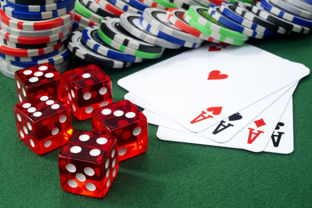 Dice, playing cards, and casino chips